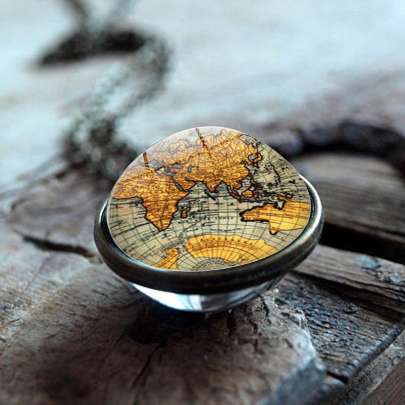 XUSHUI XJ Vintage World Map Double Sided Glass Ball Pendant Necklace Women Fashion Jewelry Glass Cabochon Necklace Chain Gifts