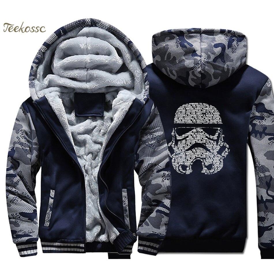 Star Wars Hoodie Men Darth Vader Hooded Sweatshirt Coat 2018 Thick Fleece Warm Join The Empire Camouflage Jacket Cool Hoody Mens