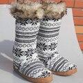 Не Пропустите Лучшее Качество Вязание Теплый Дом Обуви Этаж Мягкой Подошвой длинные Сапоги Супер Нубука Трикотажные Крытый Дом Обуви 3D Длинные Носки