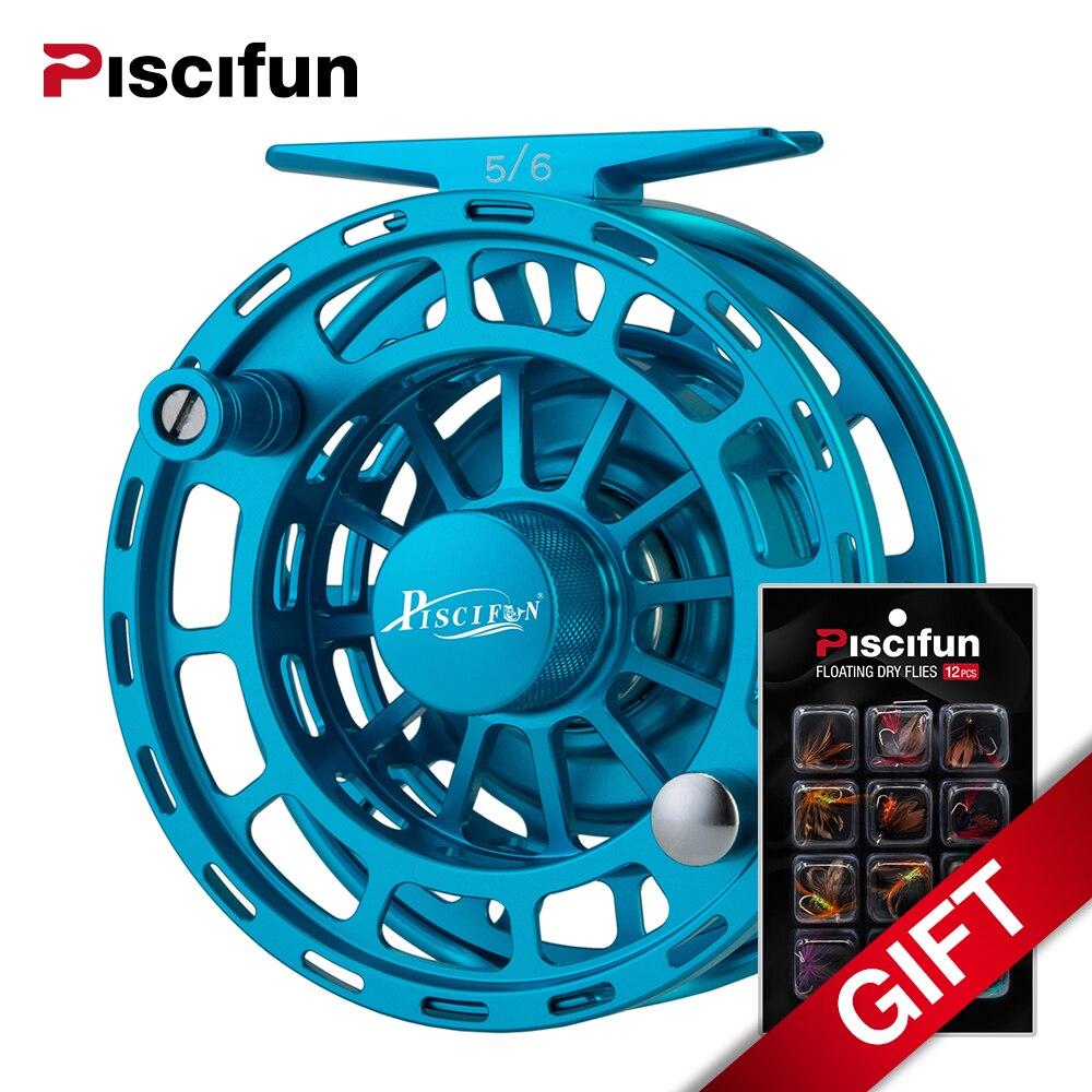 Piscifun Platte Blue Fly Fishing Reel 3/4 5/6 7/8 9/10 WT CNC Machine Cut Fishing Reel Large Arbor Aluminum Fly Reel винт гребной blue star sea 9 1 4 10 9 9 15 л с for yamaha