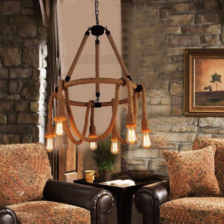 Круговой кольцевой старинный Ретро пеньковый трос шнур проводка веревка подвесной светильник лампа Лофт для столовая фойе ресторан кафе