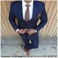 Мода Темно-Синий Мужчины Костюм 2 Шт Куртка + Брюки Двойной Грудью Костюм Homme Tailor Made Slim Fit Свадебные Костюмы для Мужчин Terno