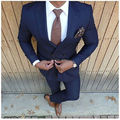 Fashion Navy Blue Men Suit 2Pieces Jacket+Pants Double Breasted Costume Homme Tailor Made Slim Fit Wedding Suits For Men Terno