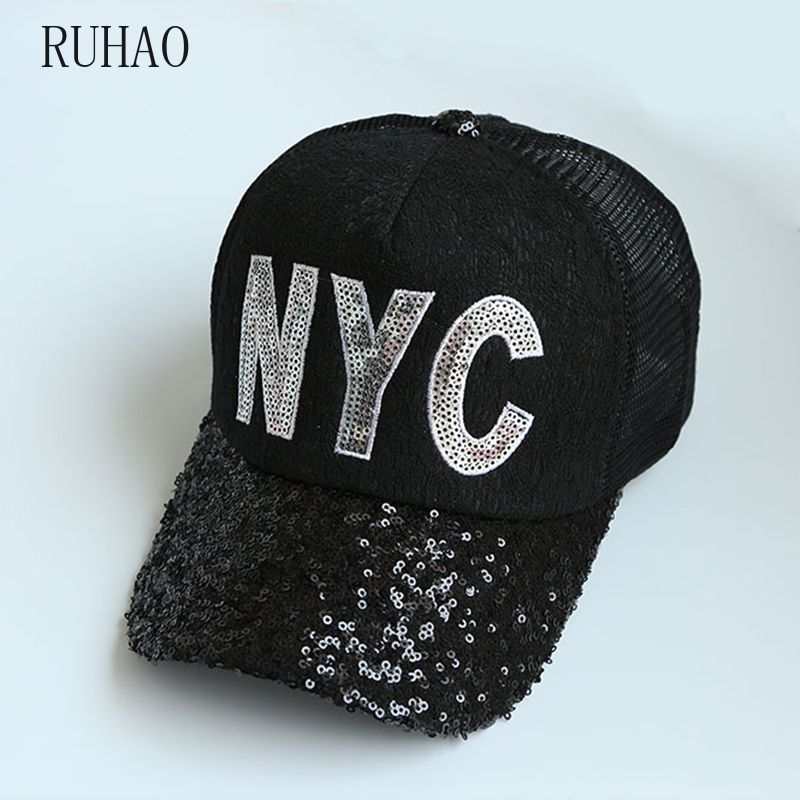 RUHAO Summer Women's Mesh Hat Lace Sequined Baseball Cap <font><b>NYC</b></font> Letter Casual Snapback Girls Adjustable gorras para hombre image