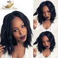 """#1/#2/#4 Natural Color Natural Wavy Lace Front Wig Thick Short Bob For Black Woman 8""""-26"""" Brazilian virgin hair full lace wigs"""