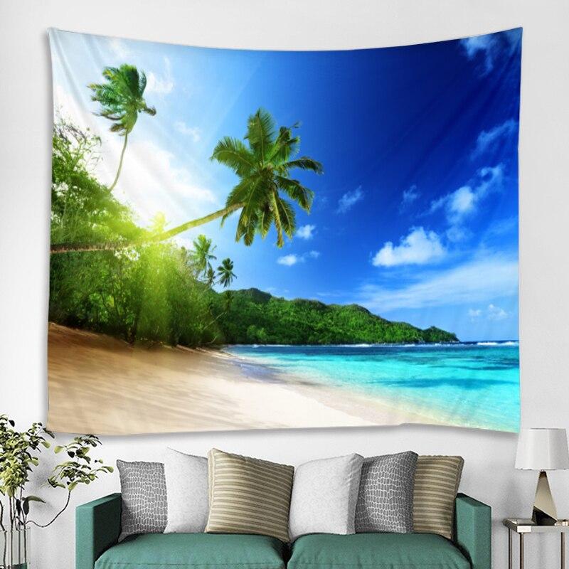 Tenture plage et océan 4 Tapisserie murale avec motif arbre vert ensoleill d coration murale style boh me style Hippie bon