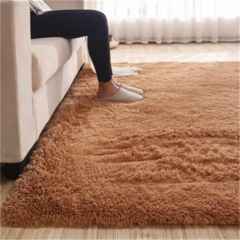 거실 커피 테이블 실크 바닥 매트 직사각형 긴 머리 카펫 거실 커피 테이블 깔개 침실 침대 두꺼운 담요