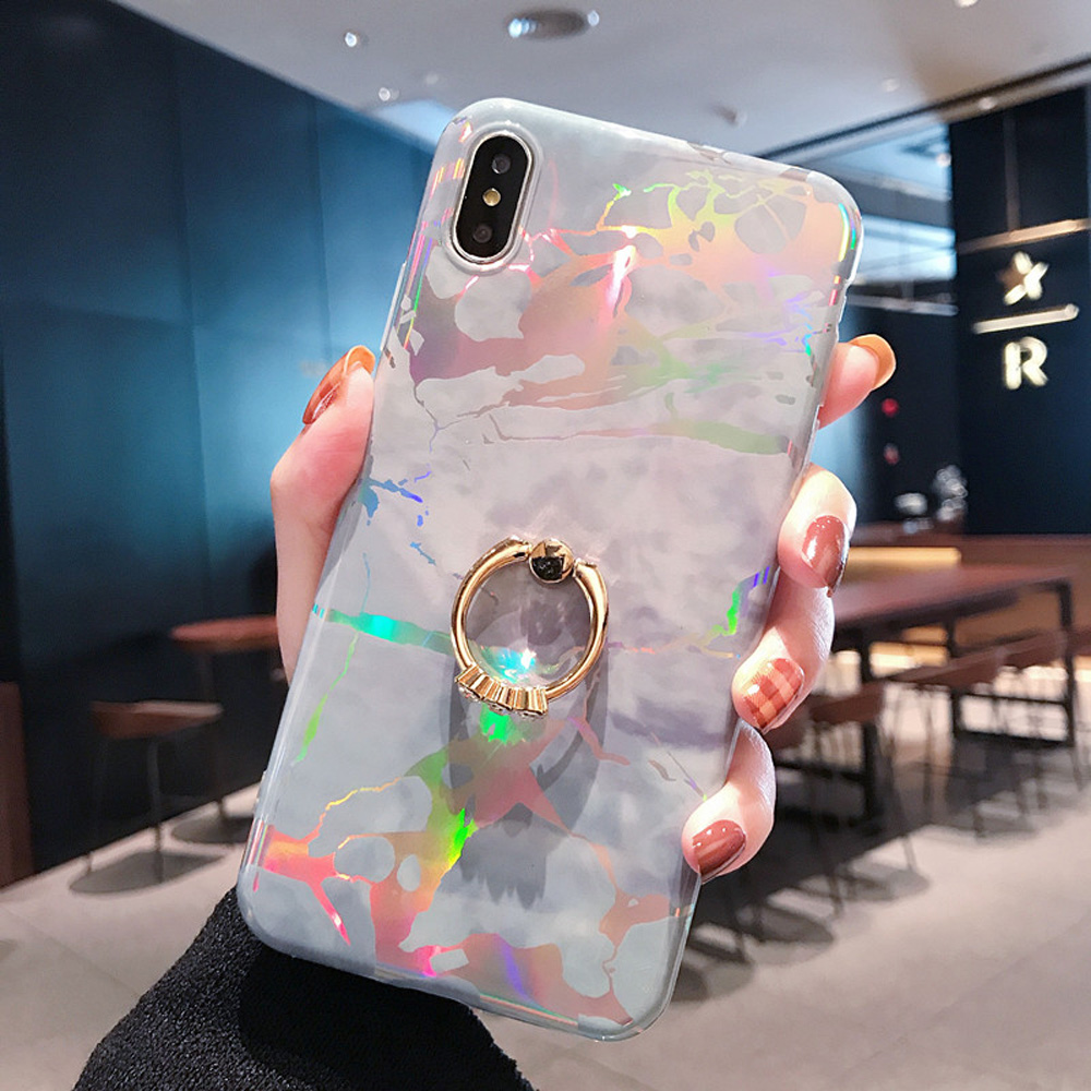 Image 2 - Heyytle Laser Marble Case For iPhone 7 8 Plus 6 6s Ring Holder Cases For iPhone X XS MAX XR Soft TPU Cover Colorful Stand Coque-in Fitted Cases from Cellphones & Telecommunications