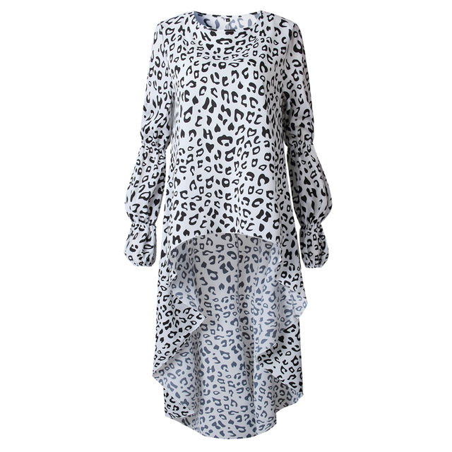 LOSSKY Vintage Women Dress Vestidos Autumn Lantern Sleeve ONeck Dress Fashion Leopard Print Irregular Streetwear Lady Dresses