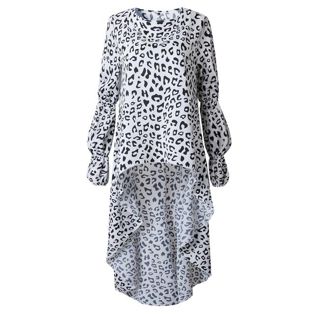 LOSSKY Vintage Women Dress Vestidos Autumn Lantern Sleeve ONeck Dress Fashion Leopard Print Irregular Streetwear Lady Dresses
