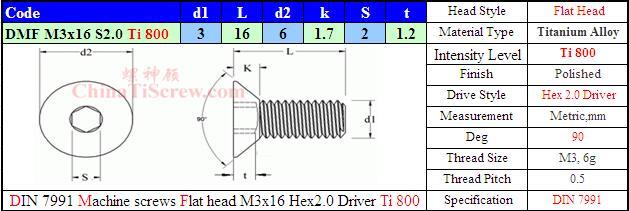 L7991 M3x16 T800