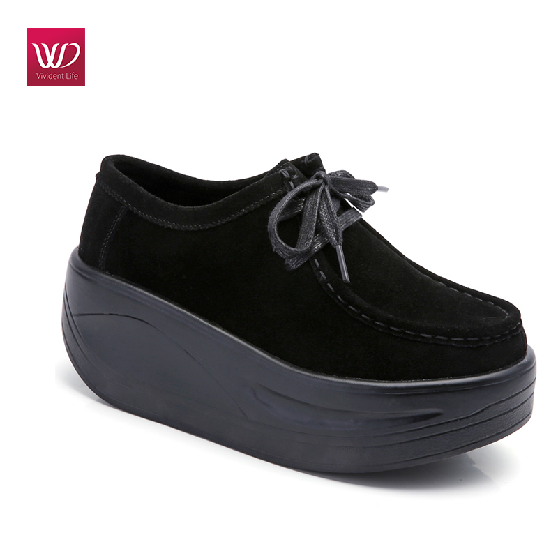Vivident Platform Creepers Genuine Leather Warm Fur Flats Shake Shoes Women Sneakers Loafers Lace Up Shoes Pointed Toe Shoes annymoli women flat platform shoes creepers real rabbit fur warm loafers ladies causal flats 2018 spring black gray size 9 42 43