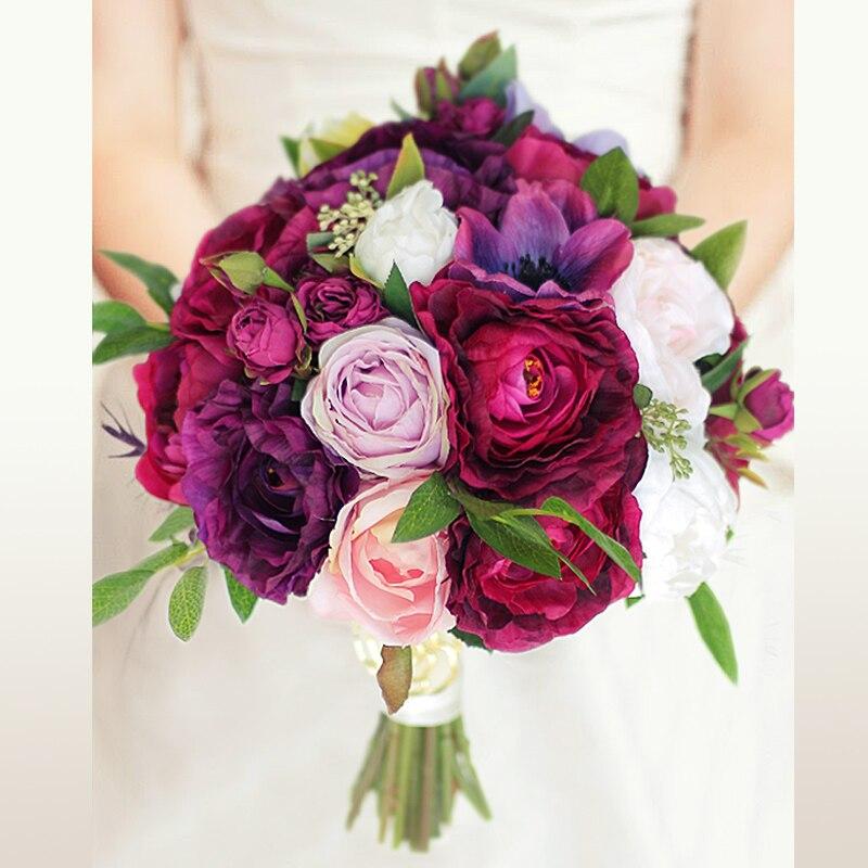 Iffo personnalisé mariage simulation bouquet vin rouge violet profond poudre pivoine anémone rose forêt mariage bouquet