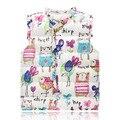 vest for girls kids girls winter waistcoat Baby Girl Autumn Children's Jackets Graffiti vest Down Cotton Warm free shipping 3-8Y