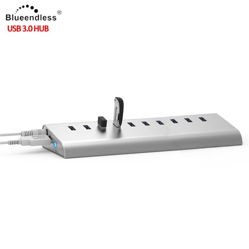 ⑧Aluminio de LA UE REINO UNIDO EE.UU. Plug 10 Puertos USB HUB de ...