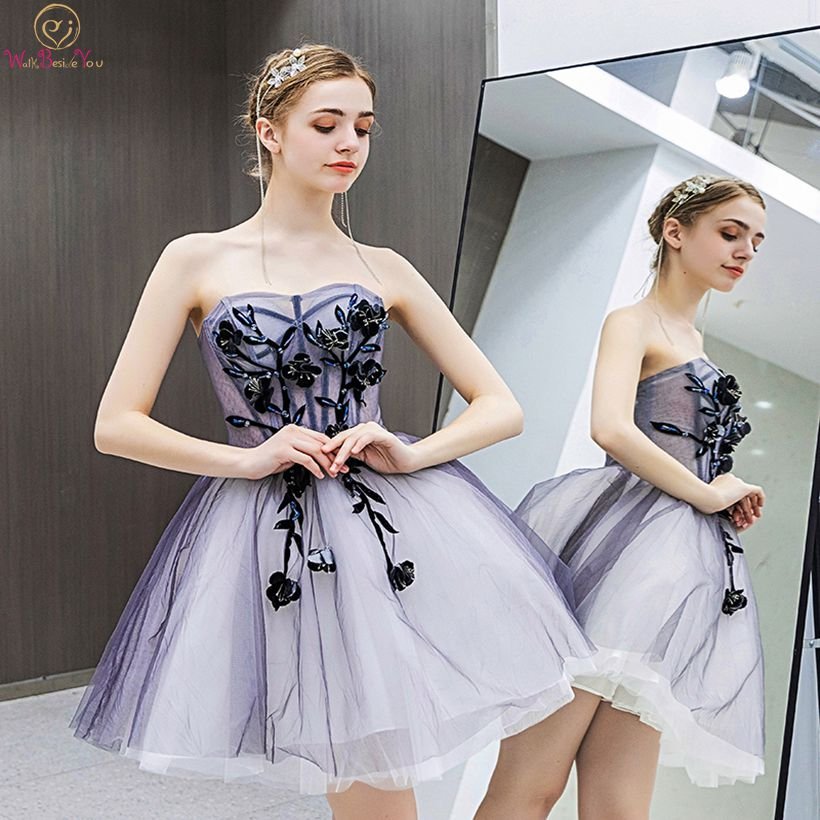 Royal Blue   Prom     Dresses   Short Strapless Simple Beaded Graduation Party Gowns 2019 Walk Beside You Evening Gowns Free Shipping