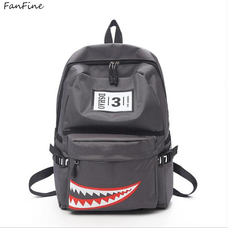 FanFine Cool Schoolbag Big Shark Cartoon backpack women bags primary men Backpacks Boys Rucksack Bag pack mochilas