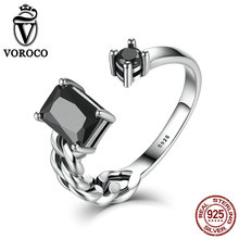 VOROCO High Quality Aquare and Round Black Braided Cuff Open Adjustable Rings Women Fine Jewelry Wedding Gift VSR043