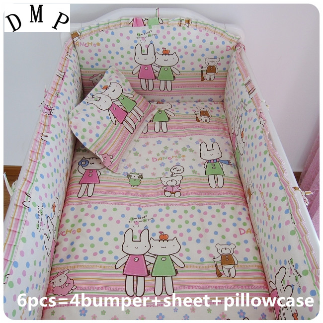 Promotion! 6PCS 100% cotton baby bedding set unpick and wash the crib set (bumpers+sheet+pillow cover)