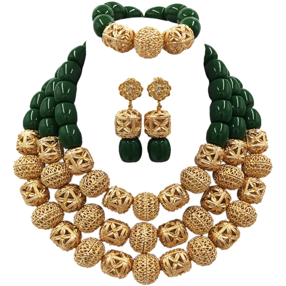 Luxurious Green Artificial Coral Beads Jewelry Set for Women Nigerian Wedding Necklace Sets ACB-02Luxurious Green Artificial Coral Beads Jewelry Set for Women Nigerian Wedding Necklace Sets ACB-02