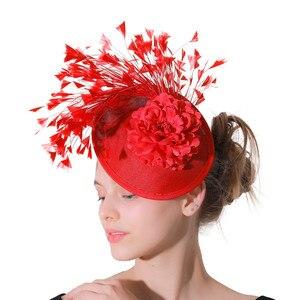 Image 4 - Rouge imitation Sinamay Fascinator chapeaux femmes mariée imitation événement Occasion chapeau pour Kentucky Derby église mariage fête course