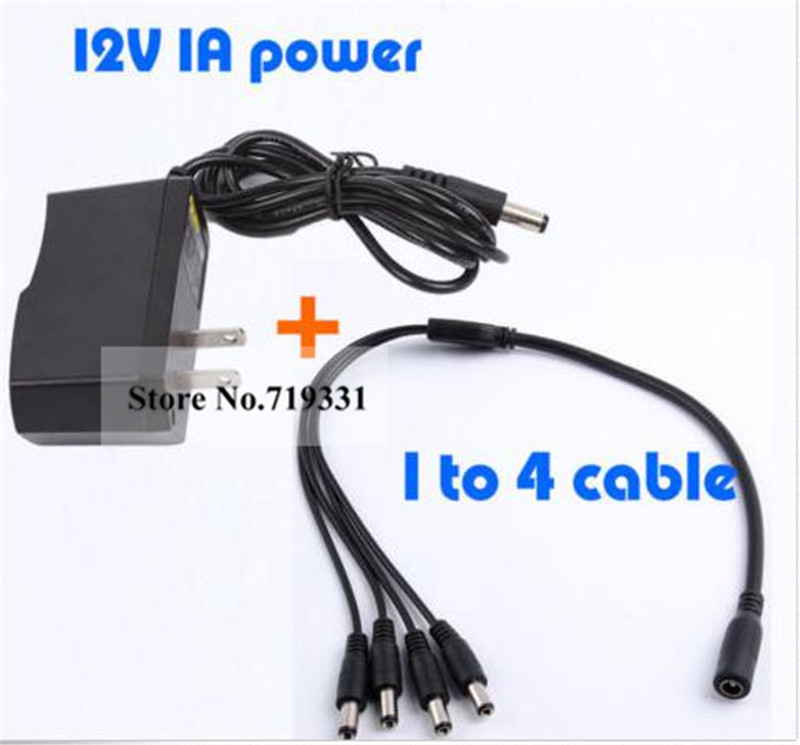 4 Split Power Cable +DC 12V1A Power Supply Adapter for CCTV Security Camera DVR security uk us eu au 12 volt 1 amp power supply power adapter for cctv ir infrared night vision lamp dvr systems camera