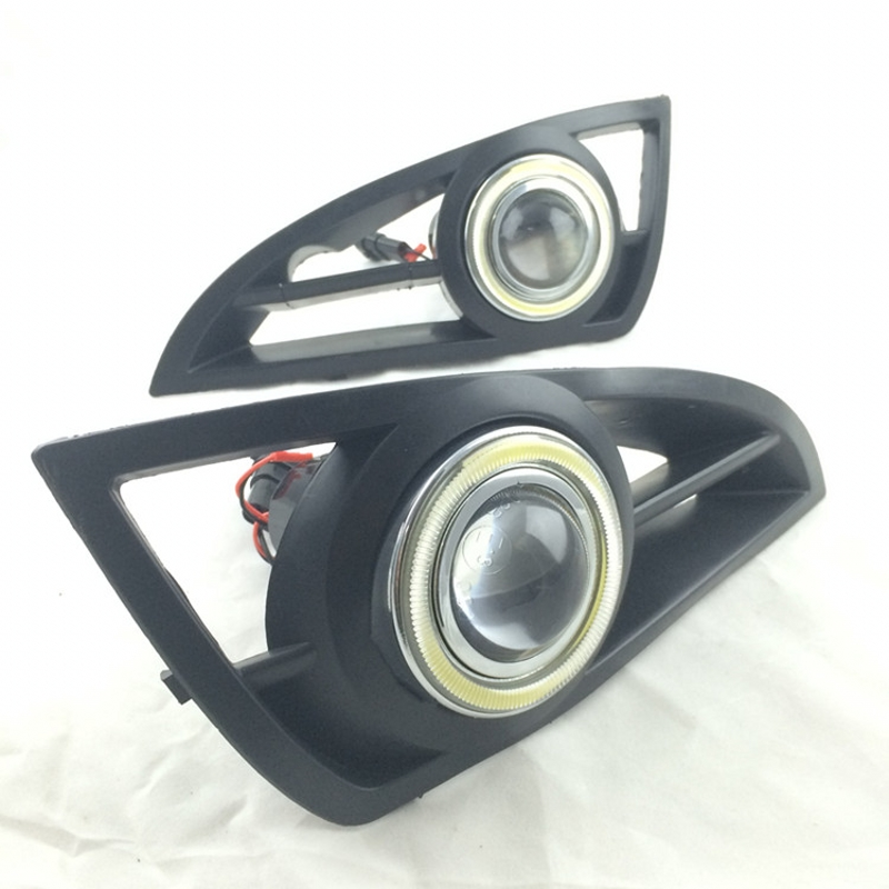 Car Styling For Geely MK White Angel Eyes DRL Yellow Signal Light H11 Halogen / Xenon Fog Lights Projector Lens E13 for ford fiesta 2008 2012 3 in 1 white angel eyes drl yellow signal light h11 halogen xenon e13 fog lights projector lens