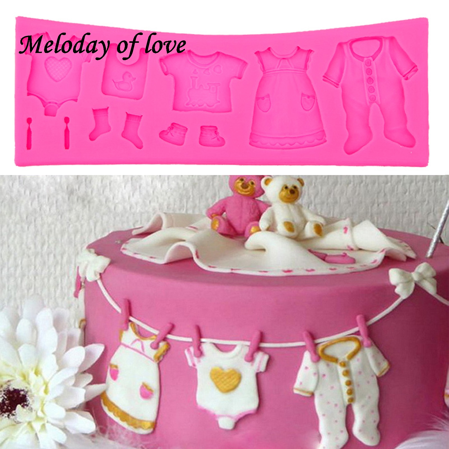 Hot Selling Pop 3D Babykleertjes Douche DIY Silicone Mold Fondant Keuken Cake Decorating Mold voor Chocolade Bakken Tools T0534