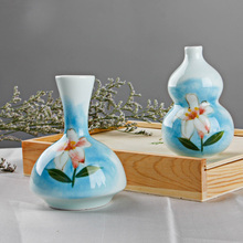 Handmade and Hand Painted Lily Porcelain Ceramic Flower Vase