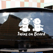 Car VehicleTwins Baby On Board Car Sticker Decals For Automotive Vinyl Stickers For Cars Styling(China)