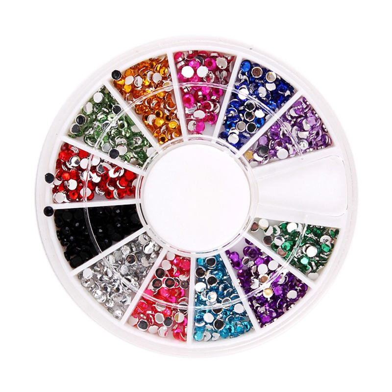 ᑐ1.5mm 12 Color Diamond Nail Art Styling Tools Decorations Glitter ...