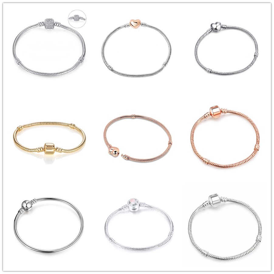High Quality 16—21cm Snake Chain Link Bracelet Fit European Charm DIY Bracelet bangle for Women DIY Fashion Jewelry Making gift