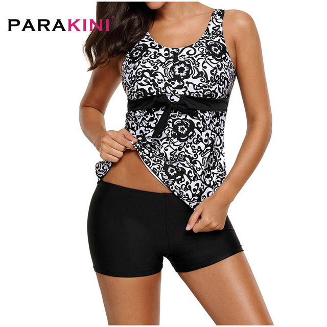 798f9c13e37f7 PARAKINI 2018 Two Piece Print Tankini Swimsuits Women Plus Size Swimwear  arge size bikini set High