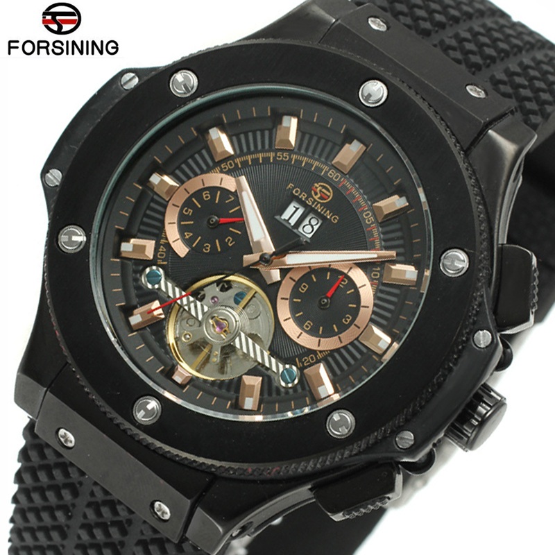 Forsining Tourbillon Watch Mens Automatic Mechanical Watches Men Black Analog Sports Male Silicone Wrist Watch Man Montre Homme winner 2016 new automatic watch men s mechanical date display analog black silicone strap sports wrist watch men xfcs