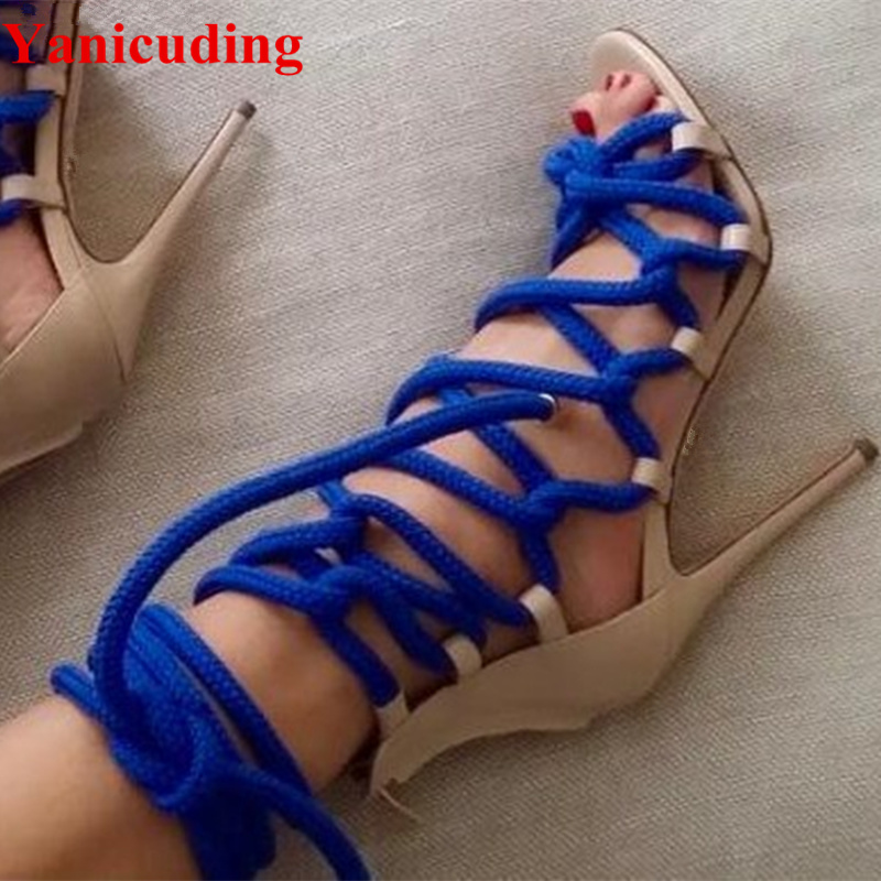 цена на New Rope Women Summer Gladiator Thin High Heels Sandals Knot Lace Up Cross Strap Ankle Boots Cut-outs Women Pumps Runway Shoes