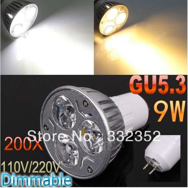 DHL FEDEX Free Shipping 200pcs/lot GU5.3 High power CREE 3x3W 9W 110V-240V Dimmable Light lamp Bulb LED Downlight Bulb spotlight