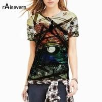 Raisevern New Harajuku T Shirt 3D Robert Eye Metallic Triangle Pattern Print Men Women Fashion 3d