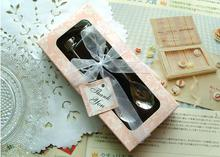 personalized wedding gifts 500pcs/lot=250 sets/lot Double Heart Coffee Spoons