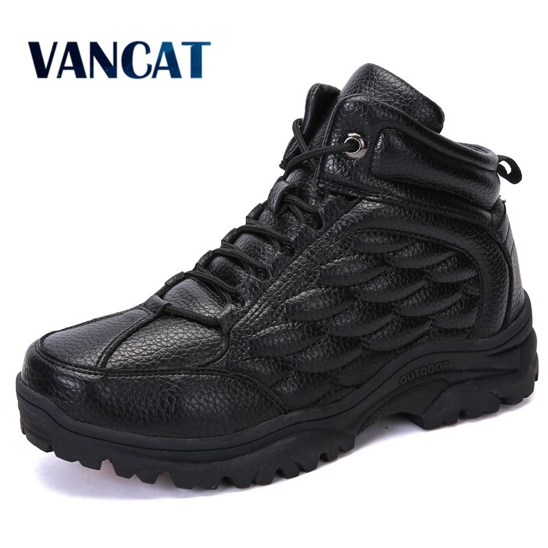 Vancat New Men Boots Winter With Fur Warm Snow Boots Men Winter Boots Work Shoes Men Footwear Fashion Rubber Ankle Boots 39-45