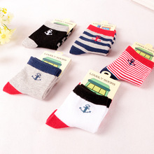 Casual boys socks 2016 fashion anchor striped print 100% cotton boy kids sock multi color, 5 Pairs / Lot