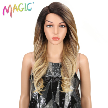 MAGIC Hair Synthetic Lace Front Wig Long Wavy Hair 24 Inch Blonde Wigs For Black Women Ombre Hair Synthetic Lace Front Wig iwona synthetic hair lace front long straight blonde wig