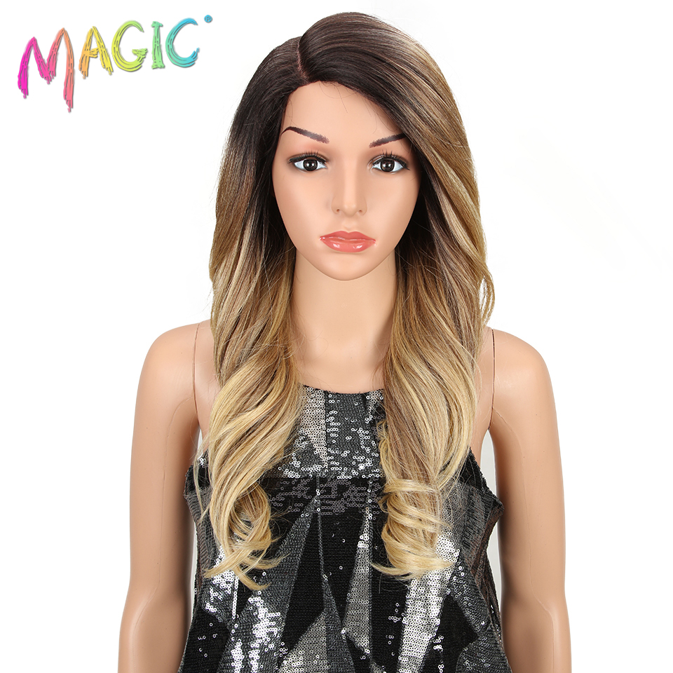 MAGIC Hair Synthetic Lace Front Wig Long Wavy Hair 24 Inch Blonde Wigs For Black Women Ombre Hair Synthetic Lace Front Wig