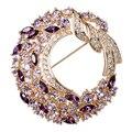 2017 фиолетовый кристалл завод цветок брошь элементы цветение женский высокого класса Аметист Листва женщины ювелирные изделия Корсаж подруга подарок