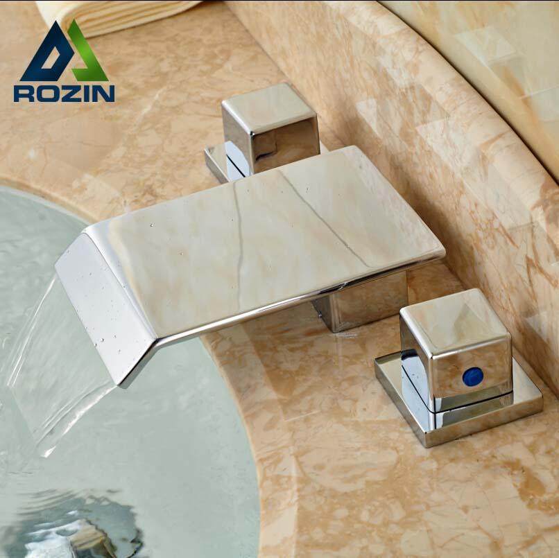 Deck Mount Rectangular Waterfall Spout Basin Sink Mixer Faucet Dual Handle 3 Holes Bathroom Faucet newly dual handle godlen waterfall bathroom basin sink faucet deck mount 3 holes