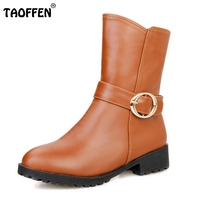 Women Round Toe Flat Mid Calf Boots Buckle Leisure Winter Warm Boot Vintage Short Botas Footwear Heels Shoe Size 34-39