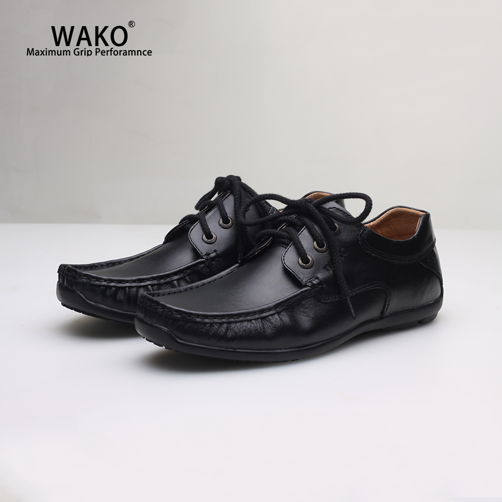 WAKO Men Women Chef Shoes Black Leather Shoes Non-Slip Kitchen Work Shoes Anti-Skid Safety Restaurant Cook Shoes Waterproof 9538