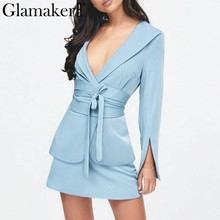 Glamaker Sexy split sleeve slim long blazer jacket Women lace up belt blue blazer dress Female v neck elegant jacket ladies coat(China)