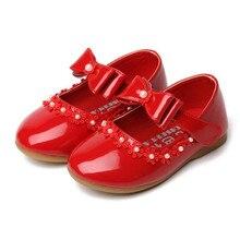 Вечерние туфли для девочек новая мода г. Детские кожаные красные туфли для девочек весна-осень Размер 21~ 35