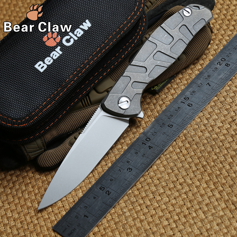 Bear Claw F95 Flipper folding knife KVT bearing D2 blade TC4 Titanium handle outdoor gear tactical camp hunt knives EDC tools bear claw smf folding knife copper gaskets s35vn blade g10 titanium handle outdoor gear tactical camp hunt knives edc tools