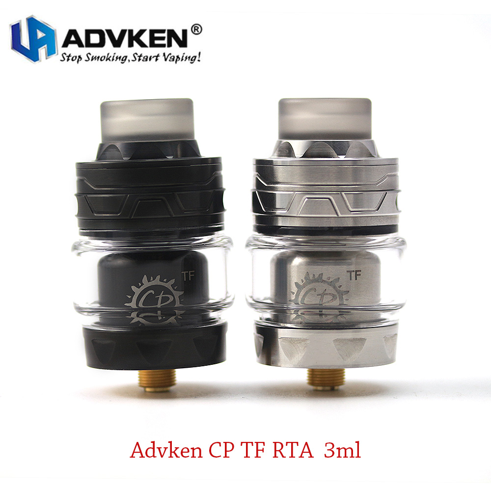 Date Atomiseur Vaporisateur Advken CP TF RTA 24mm Deux Messages E-cig Réservoir avec Moletée Top Caps fit 510 ecigarette boîte mod vs Zeus RTA